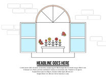 Line style illustration of opened window with flower pot Stock Photography
