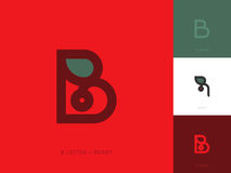 Line style logo template with letter b and red berry with leaf Royalty Free Stock Photography
