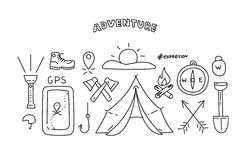 Line style objects for adventure and travel. Vector illustration Stock Photo