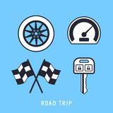 Road Trip Line Icon. Line style road trip vector icons illustration Stock Images
