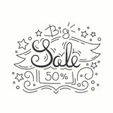 Line Style Sale Banner. Isolated Design on White Background. Line Style Sale Banner. Big Sale Isolated Design on White Background. Vector Illustration stock illustration