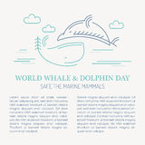 Line style sea whale and dolphin - save the marine mammals vector illustration. Stock Images