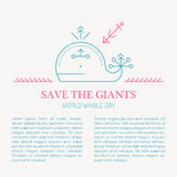 Line style sea whale - save the giants vector illustration. Royalty Free Stock Photos