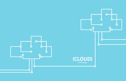 Line style technology cloud background. vector illustration
