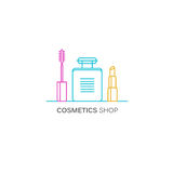 Line style template with beauty and makeup icon set. Perfume, mascara and lipstick symbols. Royalty Free Stock Images