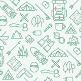 Line Style Travel Pattern. Vector Illustration of Tourism. Royalty Free Stock Images