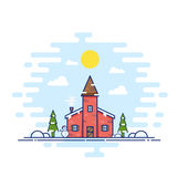 Line Style Vector Christmas Day Illustration. House with Snowman, Trees, Snow and Sun. Stock Image