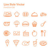 Line Style Vector Food Icon Set Stock Photos
