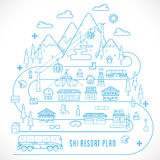 Line Style Vector Ski Resort Vacation Illustration Royalty Free Stock Images