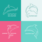 Line style whale - thin line style vector illustration Stock Photos