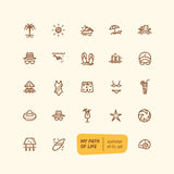 Line summer elements set. Line icons  collection. Summer theme. EPS 10 Royalty Free Stock Images