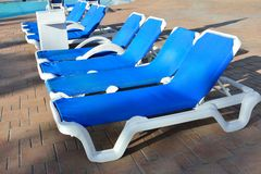 Line of sunbeds Royalty Free Stock Images
