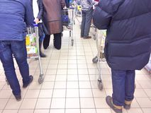 Line in a supermarket Stock Image