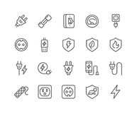 Line Surge Protector Icons. Simple Set of Surge Protector Related Vector Line Icons. Contains such Icons as American European Socket, USB Charge, Child Stock Photo