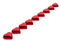 Line of sweet hearts Stock Image