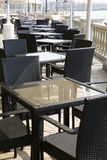 A line tables and chairs in beijing. A line of tables with chairs of wicker in the open air Royalty Free Stock Photos