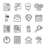 Line tax icons Stock Photos