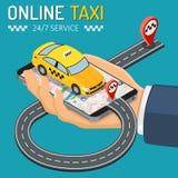 On-line-Taxi-isometrisches Konzept stockfoto
