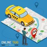 On-line-Taxi-isometrisches Konzept lizenzfreie stockfotos