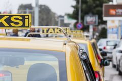 Line of taxi in Izmir Turkey Royalty Free Stock Image