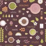 Line tea seamless pattern Stock Photos