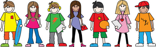 A line of teens teenagers. Header or banner Stock Image