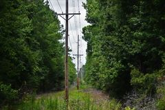 Telephone poles by an abandoned train station Royalty Free Stock Photo
