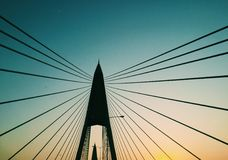Line. Tensile structure bridge with twilight Stock Image