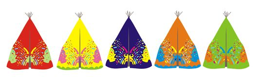 Line of tepee. Illustration of a line of native American tepee Royalty Free Stock Images