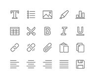 Line Text Editing Icons Royalty Free Stock Photography