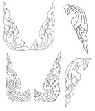 Line Thai fire design for tattoo.Japanese fire for tattoo background. Line Thai vector set.Line Thai fire tattoo.Hand drawn red fire vector set.Chinese cloud Royalty Free Stock Photo