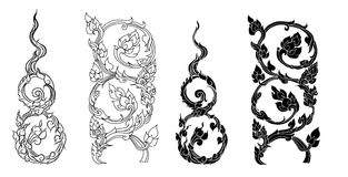Line Thai fire design for tattoo.Japanese fire for tattoo background. Line Thai vector set.Line Thai fire tattoo.Hand drawn red fire vector set.Chinese cloud Stock Photo