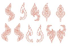 Line Thai fire design for tattoo.Japanese fire for tattoo background. Line Thai vector set.Line Thai fire tattoo.Hand drawn red fire vector set.Chinese cloud Stock Image