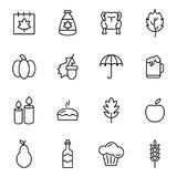 Thanksgiving Day Holiday Icons Royalty Free Stock Photography