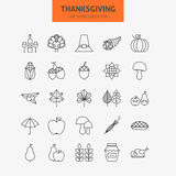 Line Thanksgiving Day Holiday Icons Big Set Stock Images