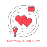 Line thin icons banner for Saint Valentine`s day Royalty Free Stock Photos