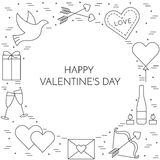 Line thin icons banner for Saint Valentine`s day Stock Photos