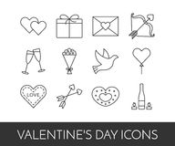 Line thin icons for Saint Valentine`s day and love theme Stock Photography