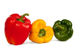 Line of three bell pepper Stock Photo
