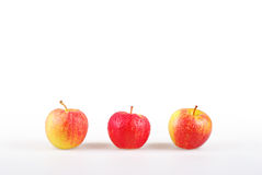 Line of three dewy apples Royalty Free Stock Photos