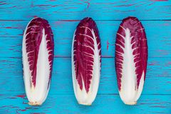 Line of three fresh radicchio or Italian chicory. Line of three fresh red and white-veined radicchio or Italian chicory, a bitter tasting vegetable eaten raw in Royalty Free Stock Images
