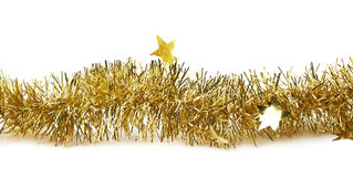 Line of a tinsel garland isolated stock images
