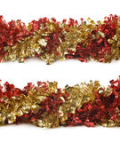 Line of a tinsel garland isolated stock photography