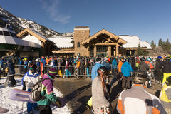 The line to board the gondola at snow basin on opening day Royalty Free Stock Image