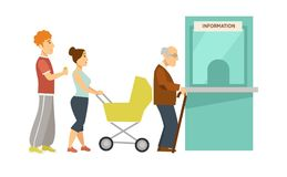 Line to small information window made of glass. Young guy with headphones, mother with baby carriage and elderly man that has cane isolated cartoon flat vector vector illustration