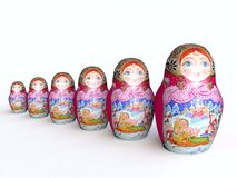 Line of Traditional Wooden Painted Dolls Matreshka Royalty Free Stock Image