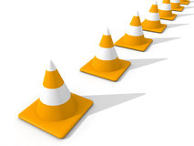 Line of Traffic Cones Royalty Free Stock Photography
