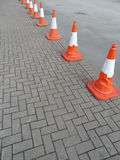 Line of Traffic Safety Cones Royalty Free Stock Photo