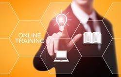 On-line-Training Webinar-E-Learning-Fähigkeits-Geschäfts-Internet-Technologie-Konzept stockbilder