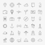 Line Travel Icons Big Set Stock Photo